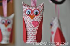 Valentine owl made from paper roll - so cute!