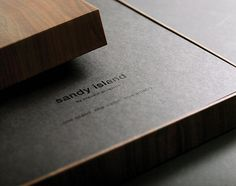 Close up of the Sandy Island sales brochure by Mean and Mister Jones/Equus Brand Consultants. Beautiful.