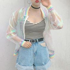 Harajuku Summer Women Jacket Laser Rainbow Symphony Hologram Women BasicCoat Clear Iridescent Transparent Bomber Jacket Sunproof