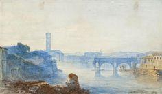 Felix Francois Philibert Georges Ziem (1821-1911) The Ponte Rotto At Dusk 1847 (16,5 x 28 cm)