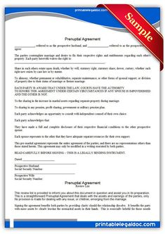 Prenuptial Agreement Sample in 2019 | Prenup agreement ...