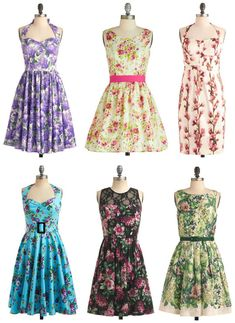 These fun floral dresses from Modcloth would look great as bridesmaid dresses for a vintage inspired spring or summer wedding!