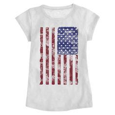 Toddler Girls' American Flag Graphic Tee White