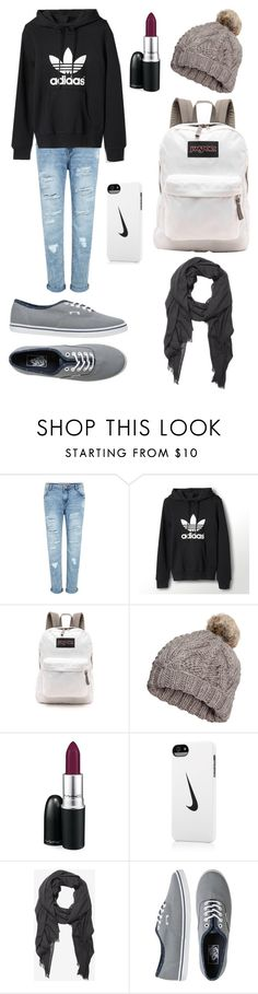 """""""#8 After practice"""" by sparklexx ❤ liked on Polyvore featuring adidas, JanSport, H&M, MAC Cosmetics, NIKE, Express and Vans"""