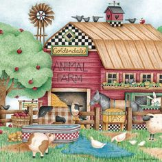The perfect pastime for any fan of Debbie Mumm's quaint folk art! This jigsaw puzzle measures 24 Farm Art, Pintura Country, Cute Clipart, Country Paintings, Mary Engelbreit, Down On The Farm, Country Art, Country Style, Illustrators