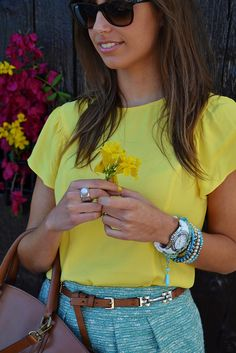 Love the bright colors and pretty jewelry