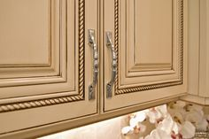 Inspiration for my dream kitchen: Almond/Cream Kitchen Cabinets with Chocolate Pin Glaze