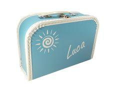 Pappkoffer blau mit Sonne und Wunschname 25 cm