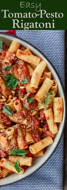 Easy, quick, and flavor-packed rigatoni pasta with tomato pesto sauce. Great on its own or add grilled chicken on top! #pasta #easyrecipe #vegetarianrecipes #rigatoni #onepotdinner