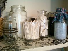 Pickle jars and Starbucks Frappuccino bottles were the perfect containers for my bath salts and hair pins.
