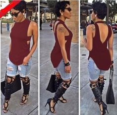 Backless Sleeveless High Neck Slim Sexy Blouse