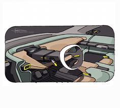 2020 INKTOBER SKETCH on Behance Car Interior Sketch, Car Interior Design, Interior Design Sketches, Industrial Design Sketch, Car Design Sketch, Interior Rendering, Interior Concept, Automotive Design, Car Sketch