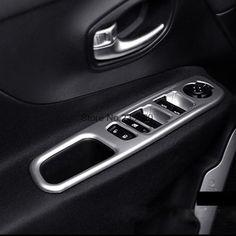 For Jeep Renegade 2014 2015 2016 ABS Matte Interior Side Door Armrest Surround Frame Window Cover Trim fit Left-hand driver 4pcs
