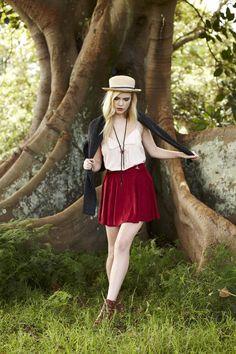Hat, shirt + skirt, boots.