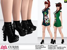 Boots with spikes by Colores Urbanos - Sims 3 Downloads CC Caboodle