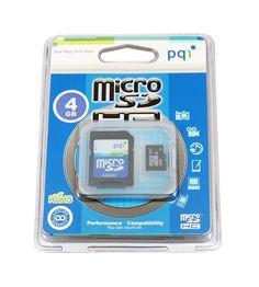 PQI 4GB MicroSDHC Flash Memory Card w/ Adapter