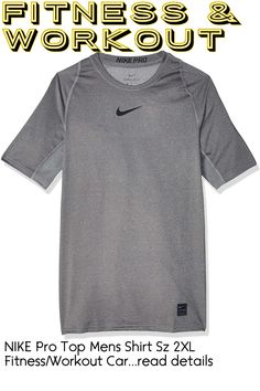 NIKE Pro Top Mens Shirt Sz 2XL Fitness/Workout Carbon Heather/Black/Black ... (This is an affiliate link)
