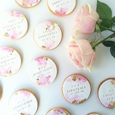 Always a goodie xx water colour hand-stamped cookies for a sweet christening 🍪 Fondant Cookies, Baby Cookies, Flower Cookies, Baby Shower Cookies, Iced Cookies, Birthday Cookies, Cupcake Cakes, Thank You Cookies, Cookie Bouquet