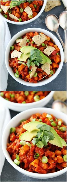 Sweet Potato Chickpea Chili Recipe ... This healthy chili is vegan and gluten-free. It is a favorite weeknight meal at our house! And a bonus, it freezes beautifully!