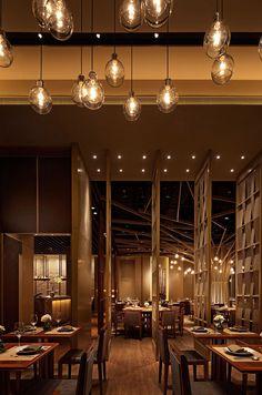 Restaurant and Bar Design Awards/ possible chandelier idea for stairwell Restaurant Lounge, Bar Lounge, Restaurant Lighting, Bar Interior, Restaurant Interior Design, Design Commercial, Bar Design Awards, Café Bar, Restaurants