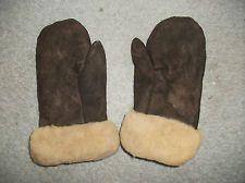 PERU Mittens Brown Sheepskin Leather Alpaca Fawn Fur interior ~ Men Large