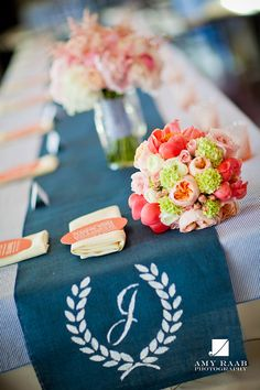 Linens hand stenciled by the bride!  Flowers by flowerfollies.com