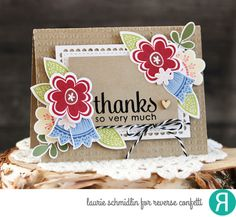 Card by Laurie Schmidlin. Reverse Confetti stamp sets: Blooms 'n Buds and Lots to Say (sentiment). Confetti Cuts: Blooms 'n Buds and Lacy Scallop Frames. RC Stencil: Lotsa Dots. Thank you card. Friendship card.