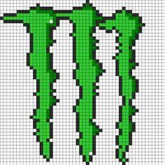 Monster energy drink logo perler bead pattern. This would be cool with a dark green outline on a black ski cap.