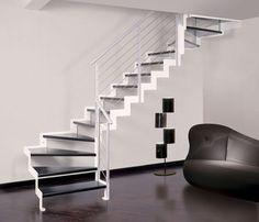 Escalier quart tournant / structure en métal / marche en bois / à limon latéral LOGICA E CF Scale nilur