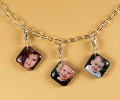 Video teaches how to make personalized resin photo charms for bracelets, earrings, zipper pulls, ID tags, pins, ...
