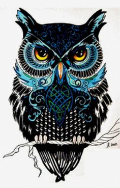 Owl w/ blue green decor, be cool on back of shoulder.
