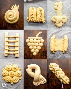 Popular challah shapes from TOP, left to right Round, spiral or coil-shaped challah for the holidays from Rosh Hashanah to Yom Kippur honouring the Yom Kippur tradition when you shake hands to ask for pardon and for Hoshannah Raba, symbolic of reaching Yom Kippur Traditions, Art Du Pain, Comida Judaica, Bread Art, Bread Shaping, Yeast Bread Recipes, Braided Bread, Jewish Recipes, Food Decoration
