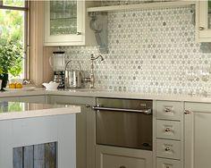 Beautiful Tile Mosaic Backsplash from Sarah s Cottagebianco antico whte cabinets   Remodel   Pinterest   Granite  . Cottage Kitchen Backsplash Ideas. Home Design Ideas