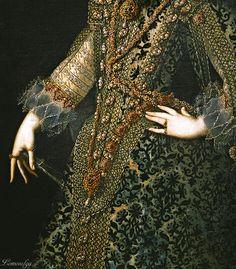 Isabel de Borbón, Reina de España, Primera Esposa de Felipe IV, 1620. Detail.