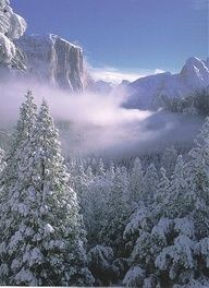 Yosemite National Park in winter, El Capitan, snow, nieve, Paruqe Nacional Yosemite.