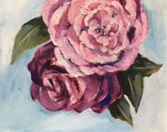 Original Oil painting stilllife on canvas abstract roses