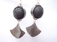Dangle Black Lava Handmade Silver Earrings Hammered by AnnaRecycle