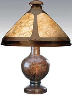 lighting, New York, Benedict Studios hammered copper table lamp, four-panel…