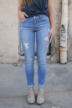 Medium Wash Distressed Denim - Online Clothing Boutique