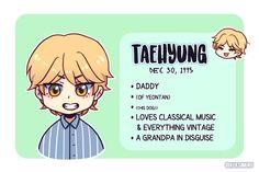 Seokjin, Hoseok, Namjoon, Bts Taehyung, Jimin, Chi Dog, Kpop Drawings, Dibujos Cute, Cute Chibi
