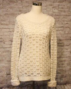 """Crocheted Ivory AE American Eagle Sweater L 42"""" Chest Stretchy Open Weave EUC #AmericanEagleOutfitters #ScoopNeck #Anytime"""