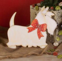 Christmas White Scottie - Large