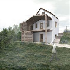 Dunaegyházán meglévő, 3 szintes nyaraló belső közlekedőjének kialakítása, a terasz hozzáépítésével.