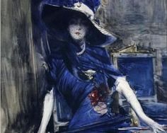 La Divine en Bleu - Boldini c. 1915  it reminds me of the christopher moore book Sacre Bleu