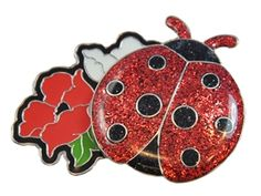 Mark Your Spot with GLITZY Red Ladybug Ball Marker with Flower Hat Clip! Bring these lucky ladies with you onto the green as a charming way to bring you good luck- by Navika's Women Golf Collection.