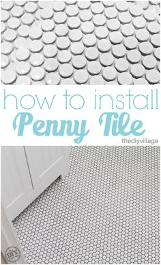 to Install Penny Tile How to install penny tile. Great tutorial from start to finish!How to install penny tile. Great tutorial from start to finish! Penny Tile Floors, Bathroom Floor Tiles, Lowes Bathroom, Penny Tile Bathrooms, Shower Tiles, Basement Bathroom, Small Bathroom, Bathroom Ideas, Boho Bathroom