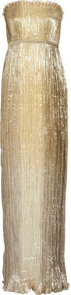 Oscar de la Renta Pleated Silkblend Lamé Gown