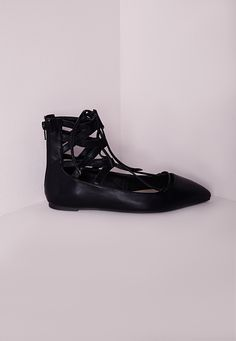 Missguided - Lace Up Flat Shoes Black