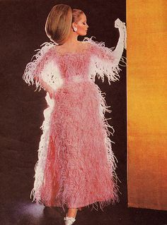 """Balenciaga 1965 Ostrich Feather Gown For Modess: Modess were sanitary pads and the ads ONLY showed an elegant picture like this, with """"Modess--because""""-- everyone got the message! 1960s Fashion, Pink Fashion, Vintage Fashion, Retro Mode, Mode Vintage, Vintage Balenciaga, Pink Balenciaga, Glamour Vintage, Style Année 60"""