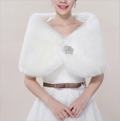Winter Bridal Wedding Faux Fur Shawl ivory Wrap Women Shrug Cloak Party Cape #WrapsShawls